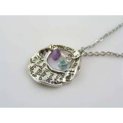 Abstract Letter Pendant Necklace with Blue Topaz and Amethyst
