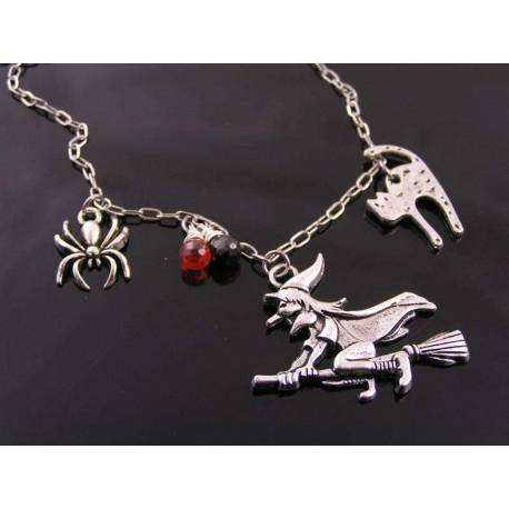 Witch, Scaredy Cat and Spider Charm Halloween Necklace