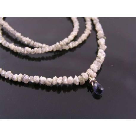 Rough Diamond Necklace with Iolite