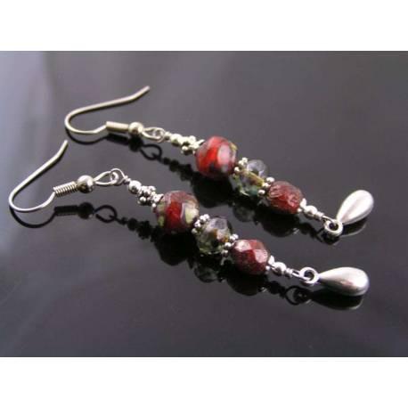 Red Bead Silver Drop Earrings