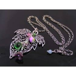 Large Filigree Leaf and Flower Drop Necklace