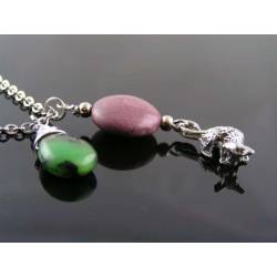Charm Necklace with Tiny Possum, Mookaite and Chrysoprase