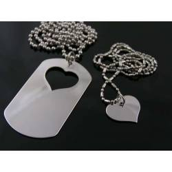 Matching Couple Necklace, Dog Tag and Heart, Two Necklaces