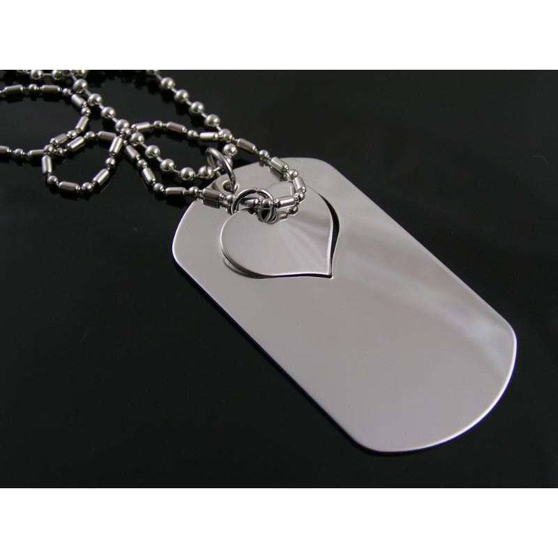 c02201f657 Matching Couple Necklace, Dog Tag and Heart, Two Necklaces; His and Hers  Jewellery Australia ...