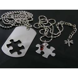 Couple Necklaces, Dog Tag and Puzzle Piece Pendants