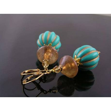 Ornate Turquoise and Gold Earrings, Light Weight Acrylic
