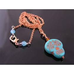 Turquoise and Copper Skull Bead Necklace