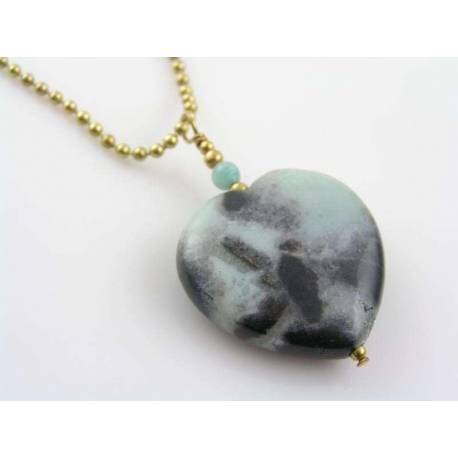 Amazonite Heart Necklace