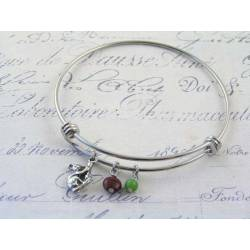 Expandable Bangle with Koala Charm and Gemstones