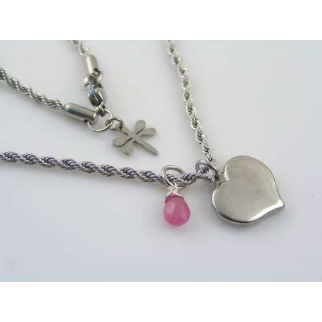 Monogram Heart Charm and Pink Sapphire Necklace