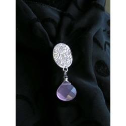 Lavender Chalcedony Brooch