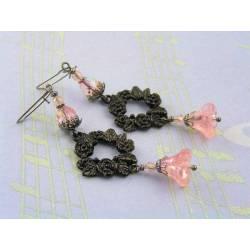 Pink Flower and Black Rose Earrings