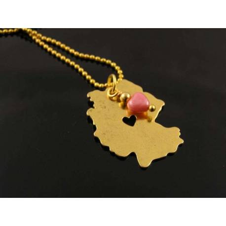Germany Map Necklace, German Flag Colours