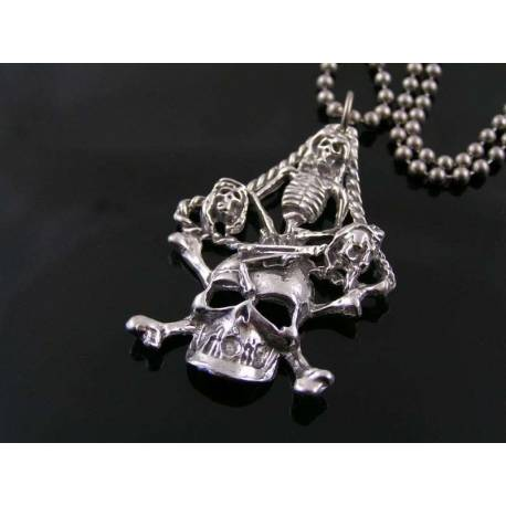 Substantial Skull and Skeleton Pendant Necklace