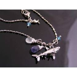 Save the Sharks, Charm Necklace with Iolite, Aquamarine and Mystic Quartz