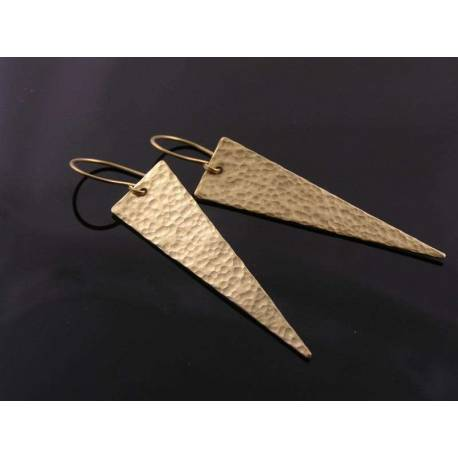 Large Hammered Triangle Earrings