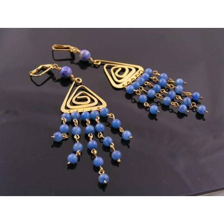 Blue Aventurine Chandelier Earrings