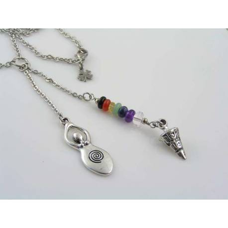 Goddess Necklace with Chakra Gemstones