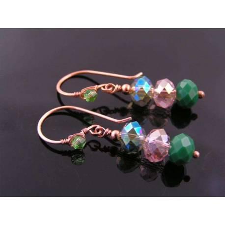 Green Crystal Copper Earrings