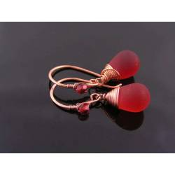Wire Wrapped Red Sea Glass Drop Earrings, Copper