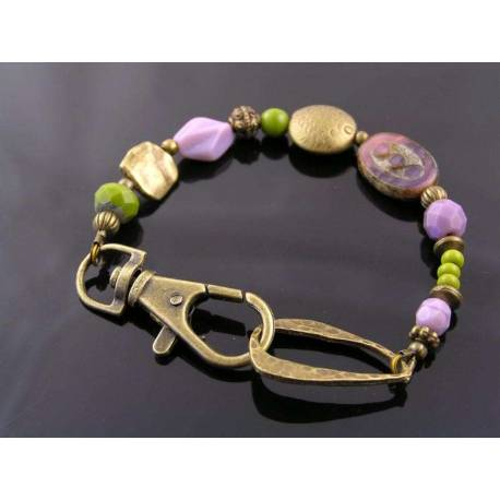 Chartreuse Green and Lavender Bead Bracelet