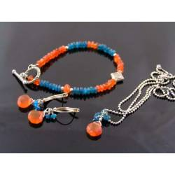 Carnelian and Apatite Set, Bracelet, Earrings and Necklace