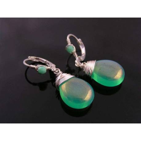 Bright Green Wire Wrapped Czech Glass Earrings