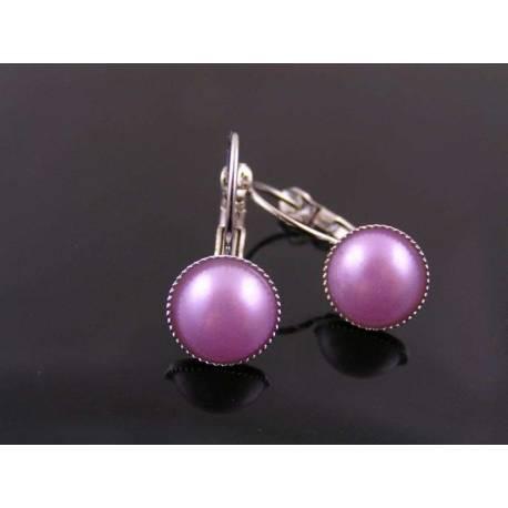 Small Purple Pearl Earrings
