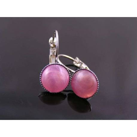 Pink Cabochon Sleeper Style Earrings