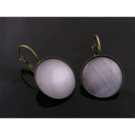 Large Silver Cat's Eye Earrings
