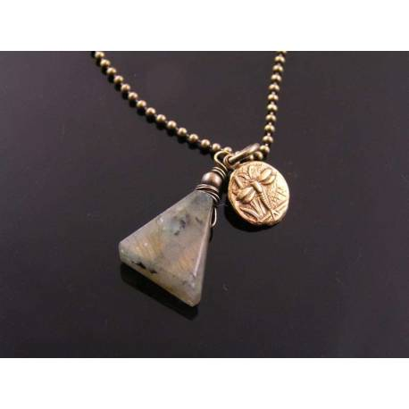 Labradorite Necklace, Triangle shaped Gemstone