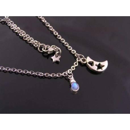 Teeny, Tiny Crescent Moon Necklace with Rainbow Moonstone