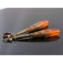 Victorian Style Ornate Seaglass Earrings, Orange