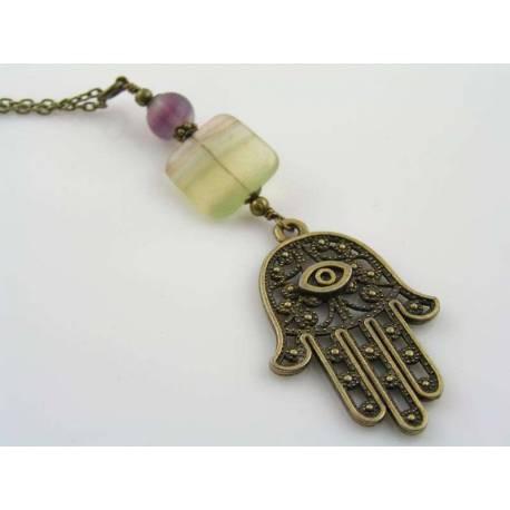 Hamsa Hand Necklace with Multi Colored Fluorite