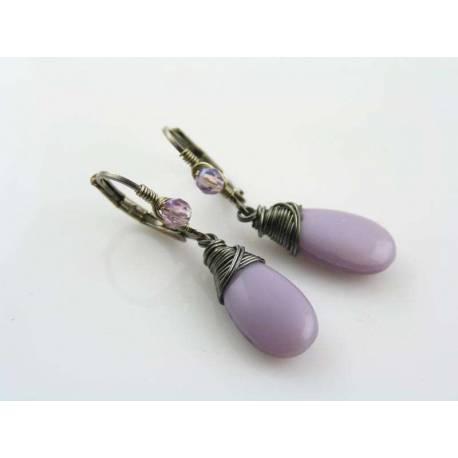Orchid Earrings, Wire Wrapped in Gunmetal