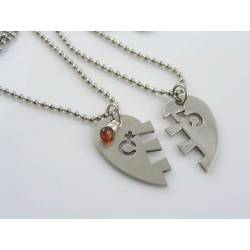 Matching Heart Pendant Couple Necklaces