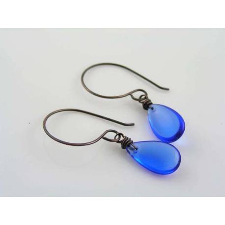 Sapphire Blue Drop Earrings, Wire Wrapped Czech Glass Earrings