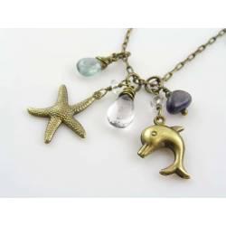 Dolphin Necklace with Aquamarine, Iolite, Blue Topaz