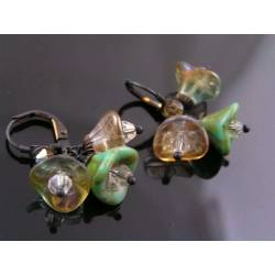 Czech Glass Flower Earrings, Cluster