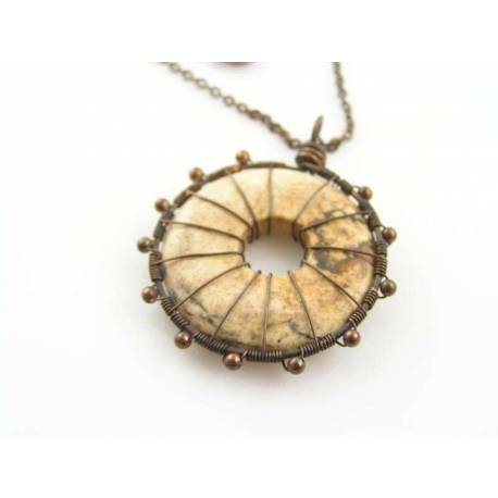 Desert Jasper Eternity Pendant Necklace