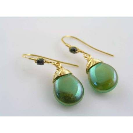 Shimmering Green and Gold Earrings