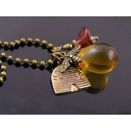 Czech Honey Drop, Flower and Bee Charm Necklace