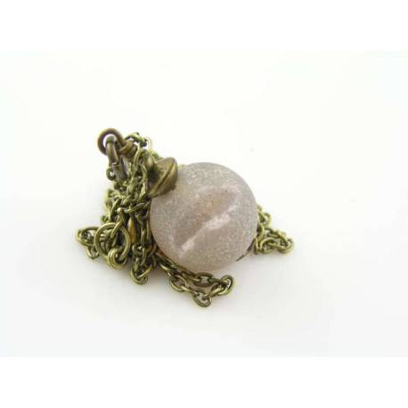 Agate Druzy Necklace, Satellite Chain with Amethyst Dangle