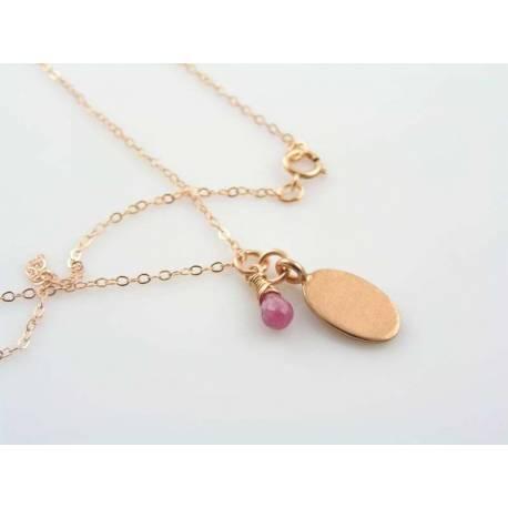 14K Rose Gold Filled Initial or Monogram Necklace, Birthstone