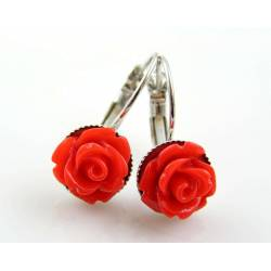 Red Flower Earrings