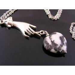 Art Deco Style Hand holding Carved Zebra Jasper Heart Pendant - Necklace