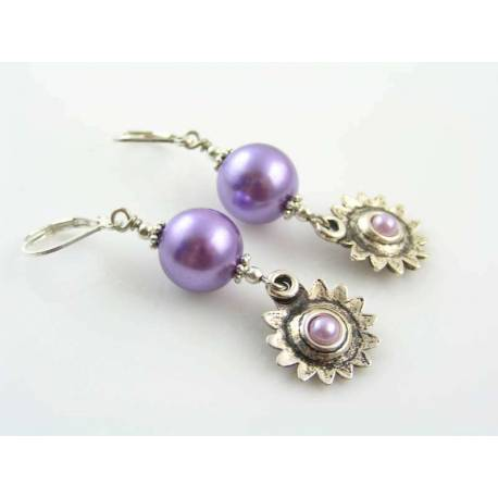 Lilac Pearl Earrings