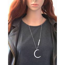 Hammered Moon, Moonstone Necklace