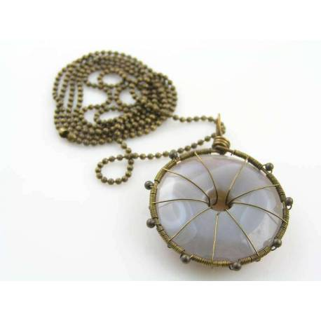 Grey Agate Wheel of Infinity Necklace and Earrings