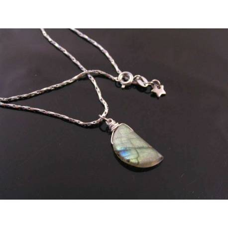 Amazing Crescent Moon Labradorite Necklace